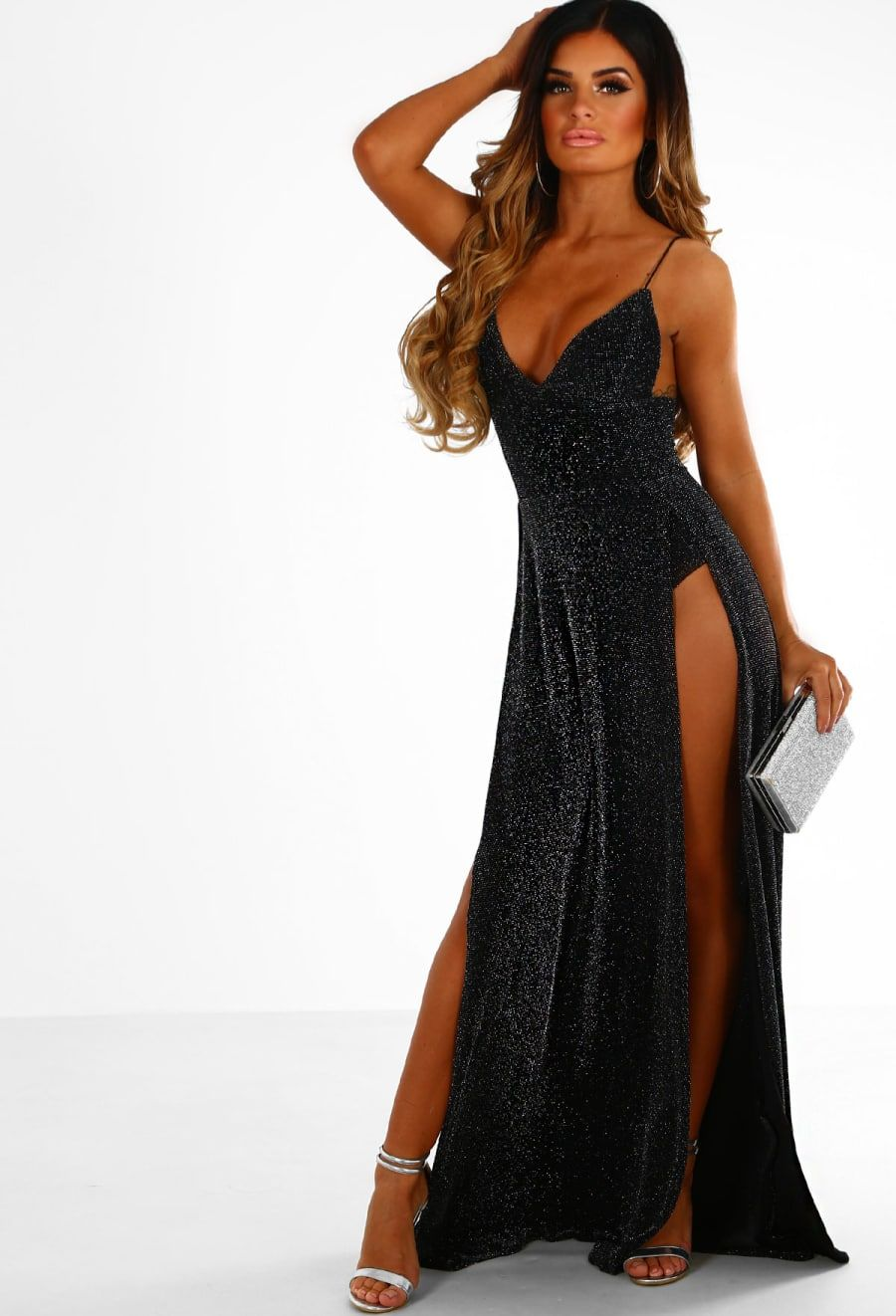 Illuminations Black Glitter Lurex Double Split Maxi Dress Split Maxi Dress Maxi Dress Bodysuit Fashion [ 1322 x 900 Pixel ]