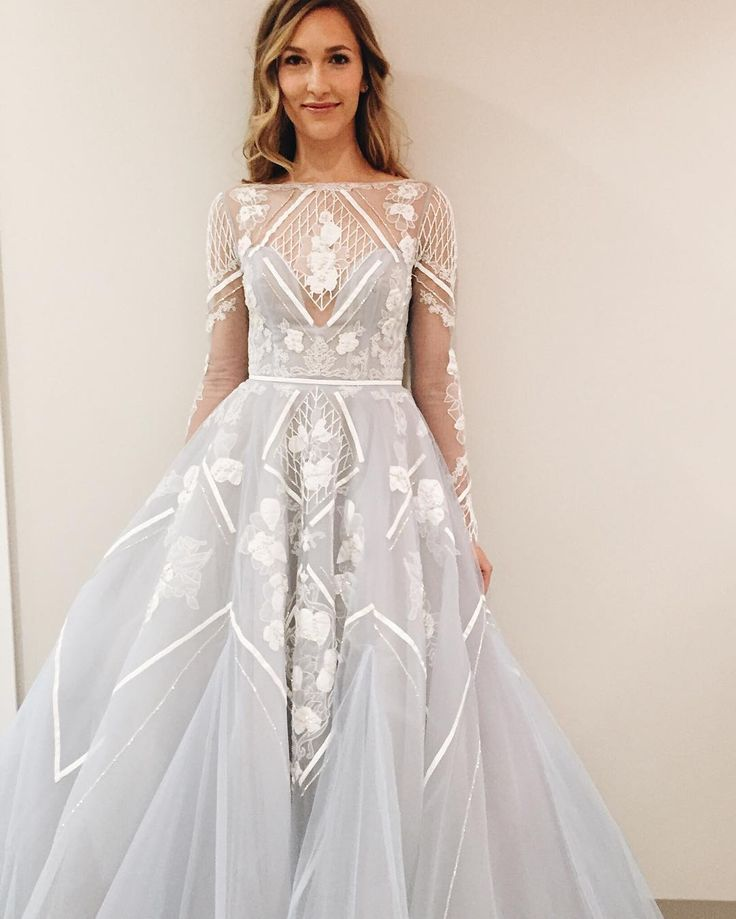 Colorful Wedding Dresses: Lace Ballgown Pale Blue Wedding Long