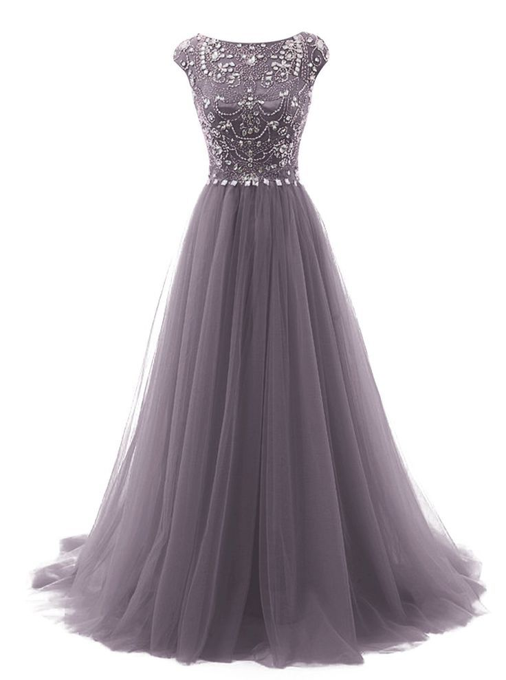 Tideclothes Long Beads Prom Dress Tulle Cap Sleeves ...