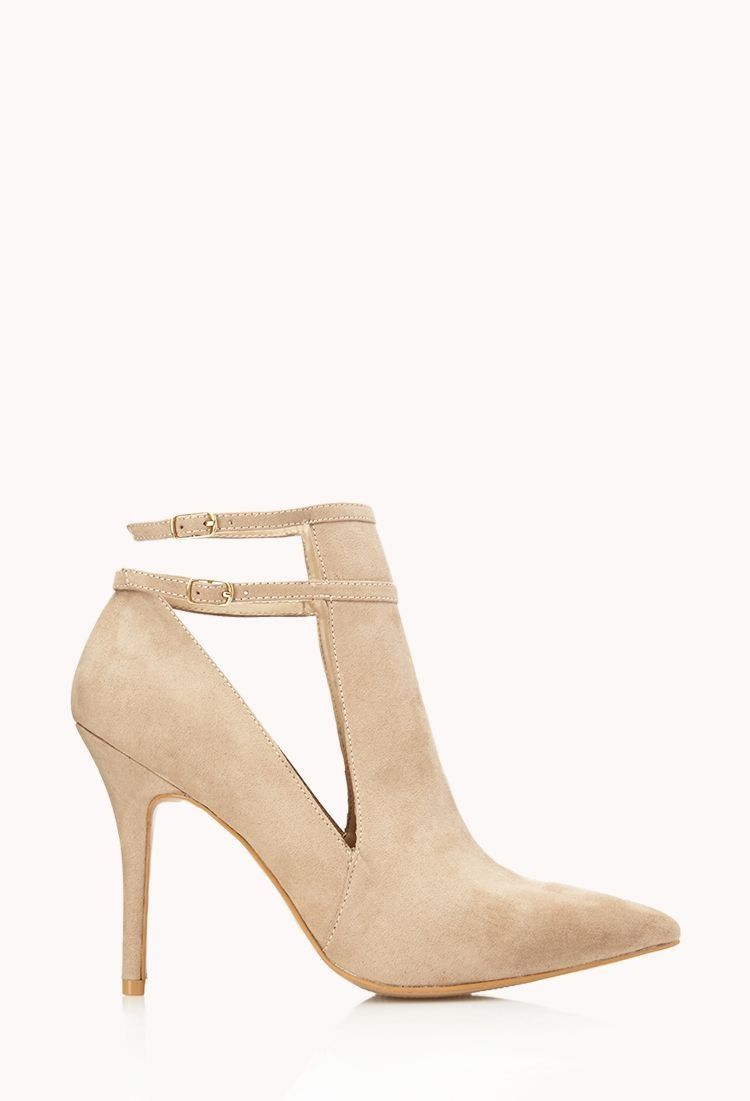Cream Suede heel with an ankle strap