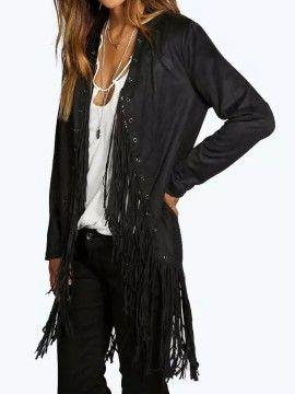 Black Suedette Ring Detail Fringe Hem Long Sleeve Open Front Coat