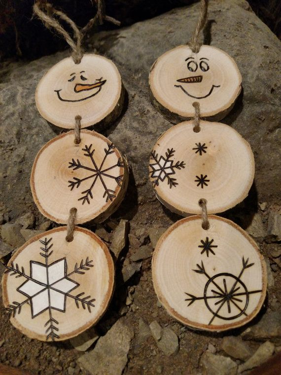 Wood Burned Snowman Christmas Ornaments -- Stacked Snowman Ornaments ...