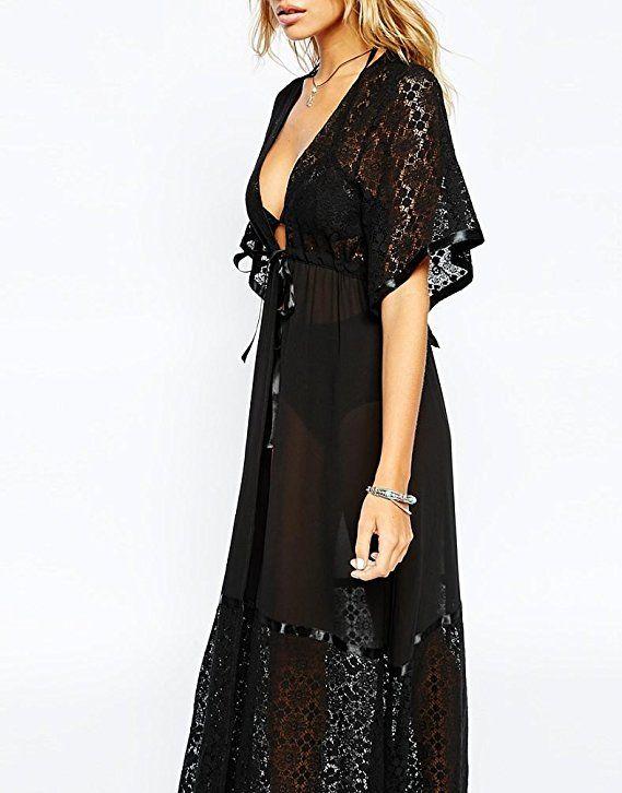 3071080f2dc68 Bestyou® Women's Lace Crochet Swimsuit Cover up Cardigan Beachwear Chiffon  Maxi Dress (Black) at Amazon Women's Clothing store: