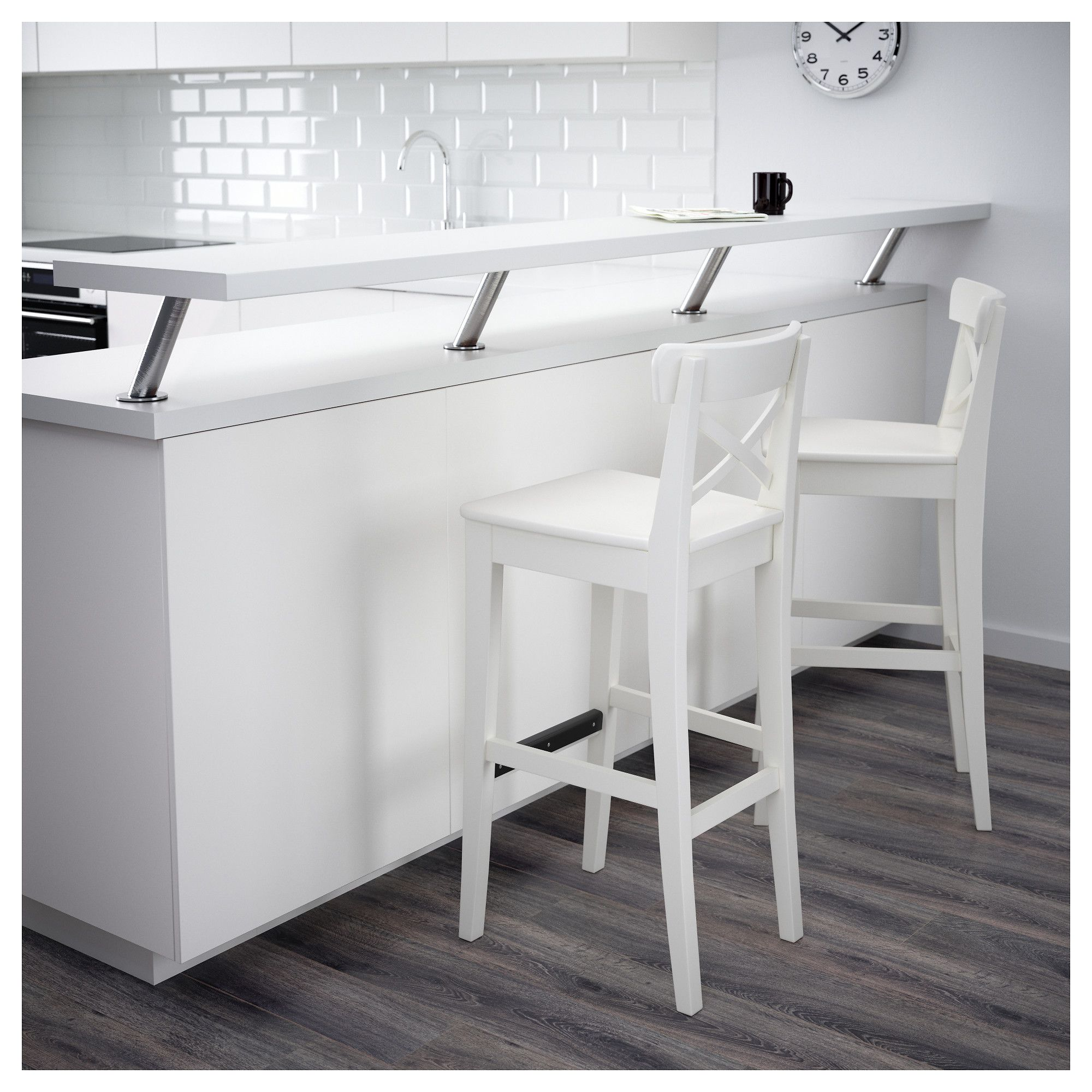 Ikea Ingolf Bar Stool With Backrest White Products