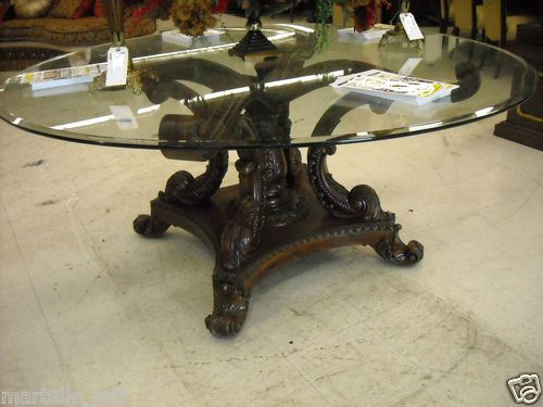 Solid Mahogany Round Dining Foyer Entrance Table 72 Dia Glass Top