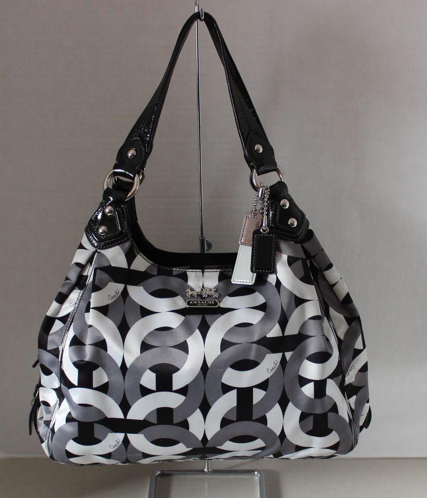 Authentic Coach Madison Maggie Op Art Hobo Chainlink Shoulder Handbag 14420