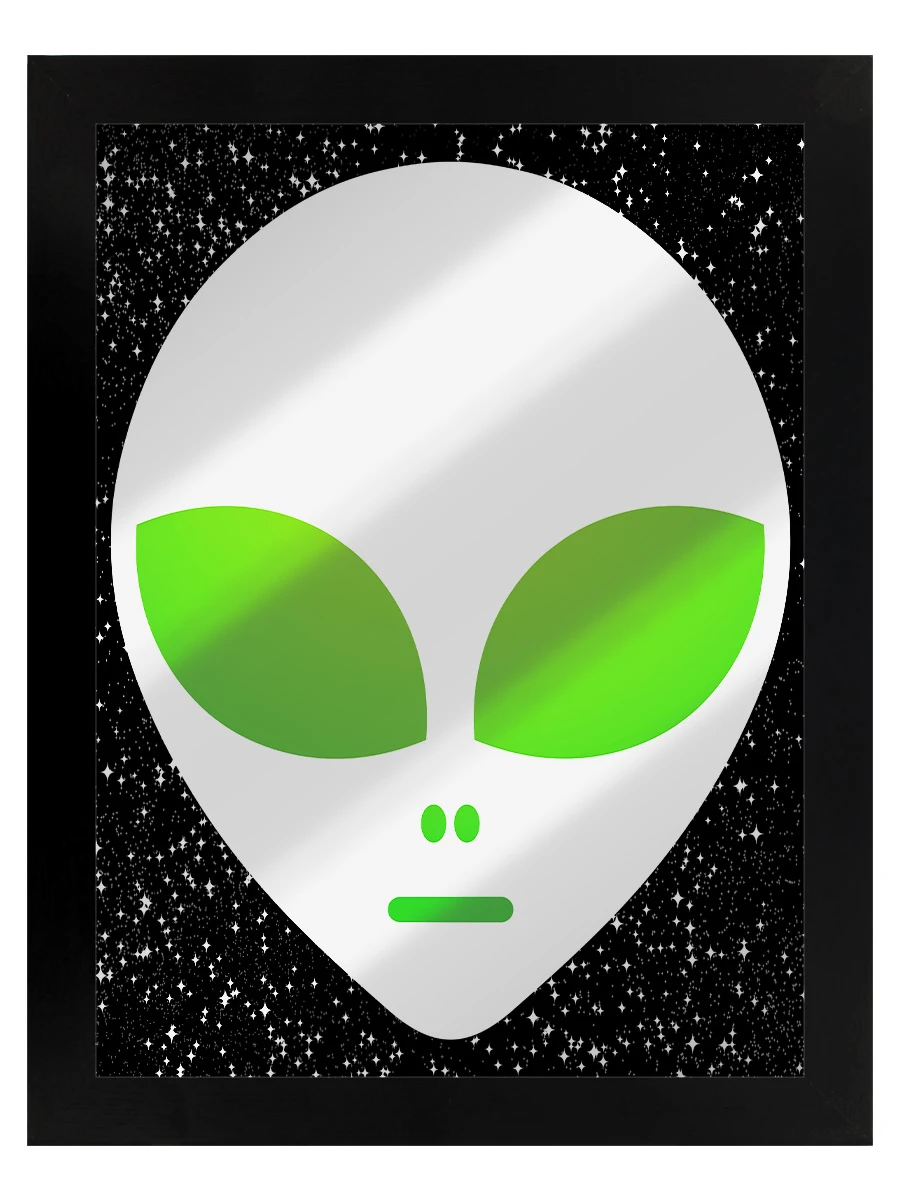 Framed Alien Head Mirrored Tin Sign Grindstore Wholesale In 2020 Tin Signs Custom Picture Frame Frame