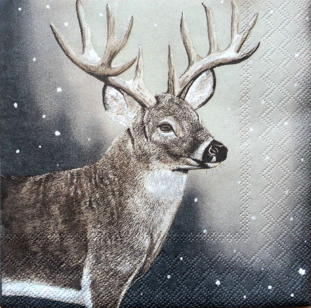 Vintage Deer Couple 4x Paper Napkins for Decoupage Decopatch