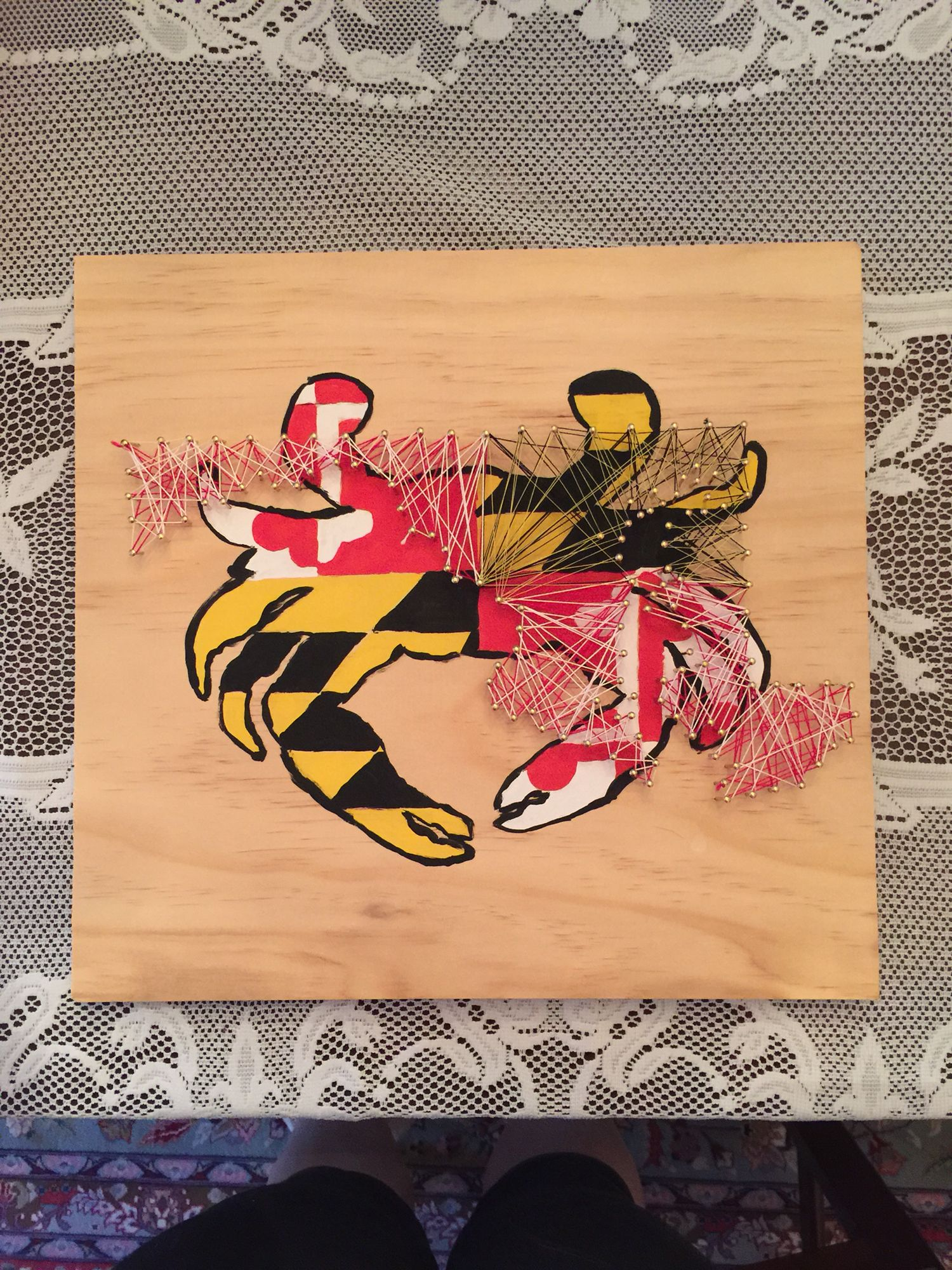 Homemade Md Crab String Art #Stringart #Maryland #Marylandpride