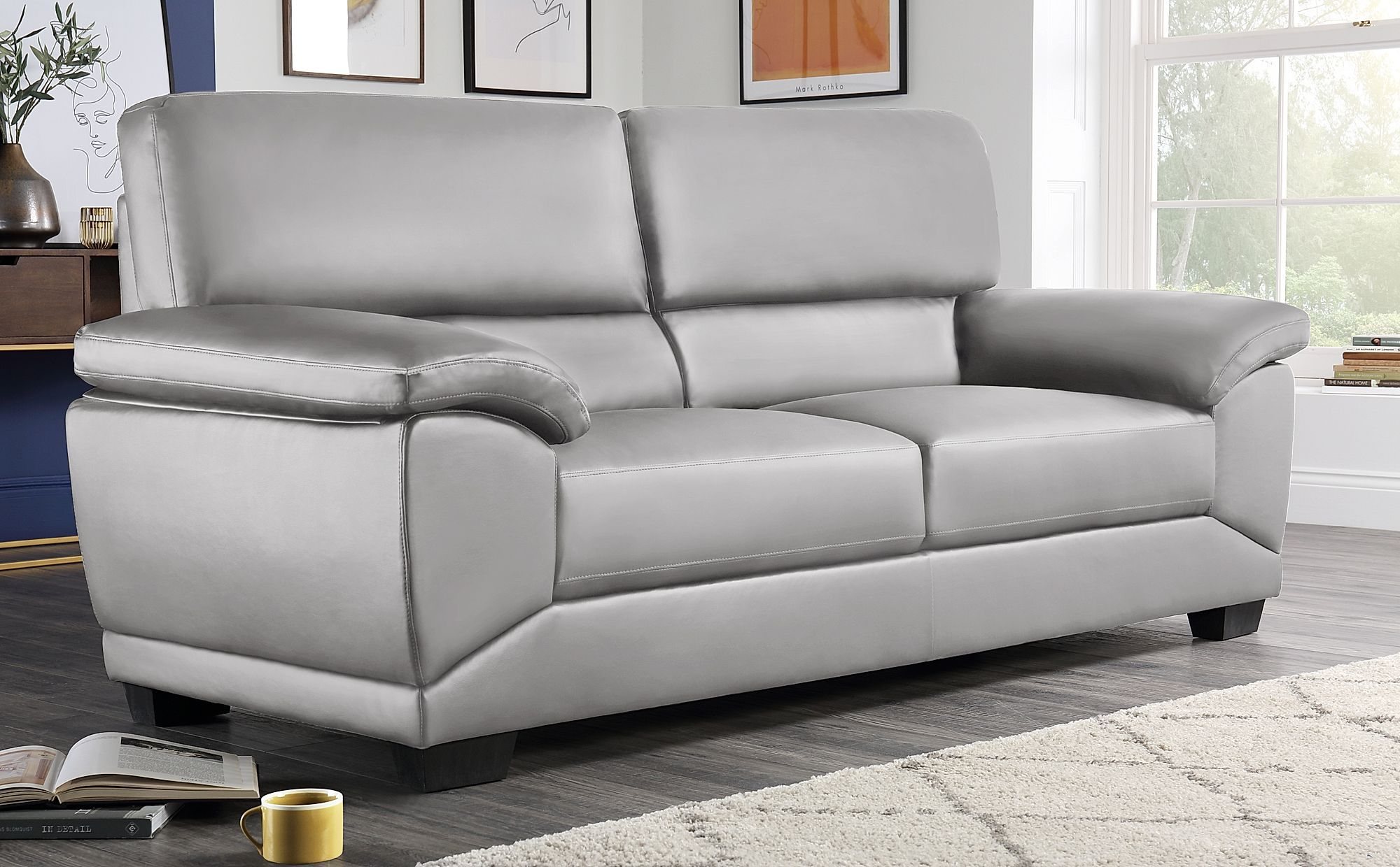 Oregon Light Grey Leather 3 Seater Sofa 2 Seater Sofa Sofa 3 Seater Sofa