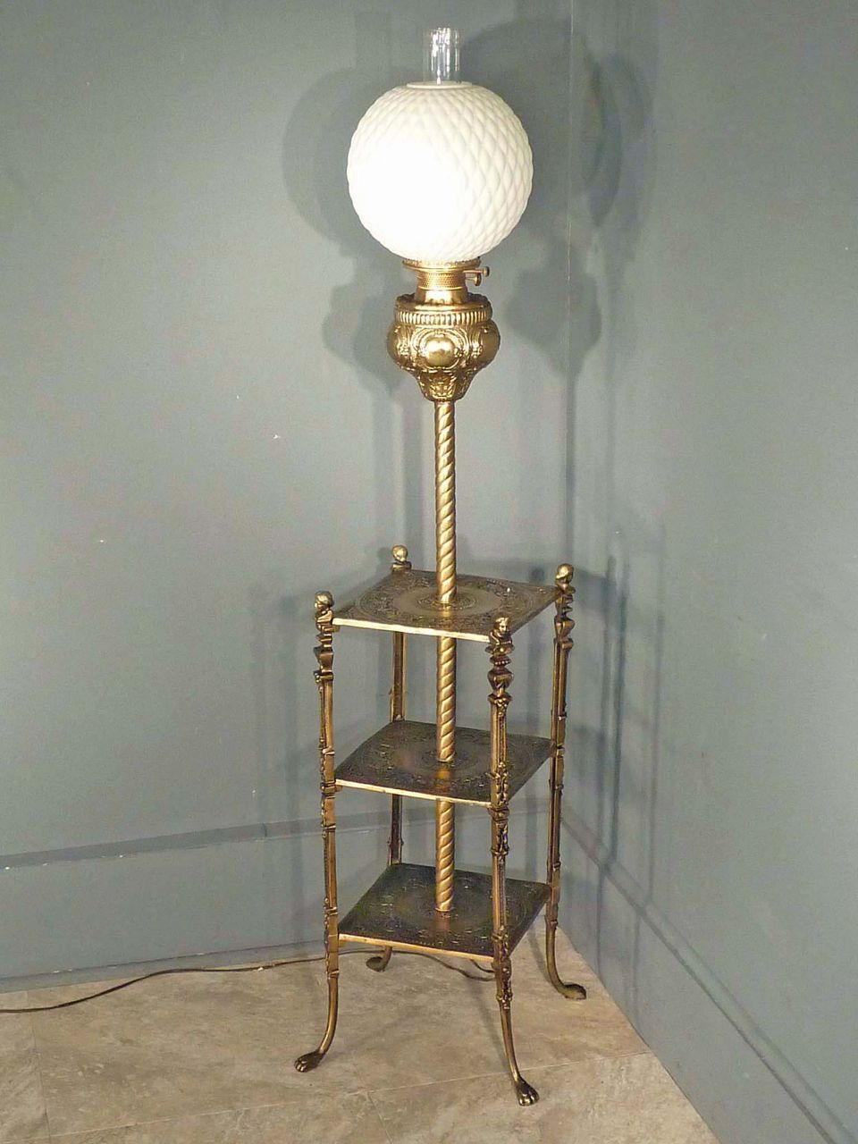 Victorian Piano Floor Lamp With Shelves From Antiquesonhanover On Ruby Lane Floor Lamp Styles Floor Lamp With Shelves Antique Floor Lamps