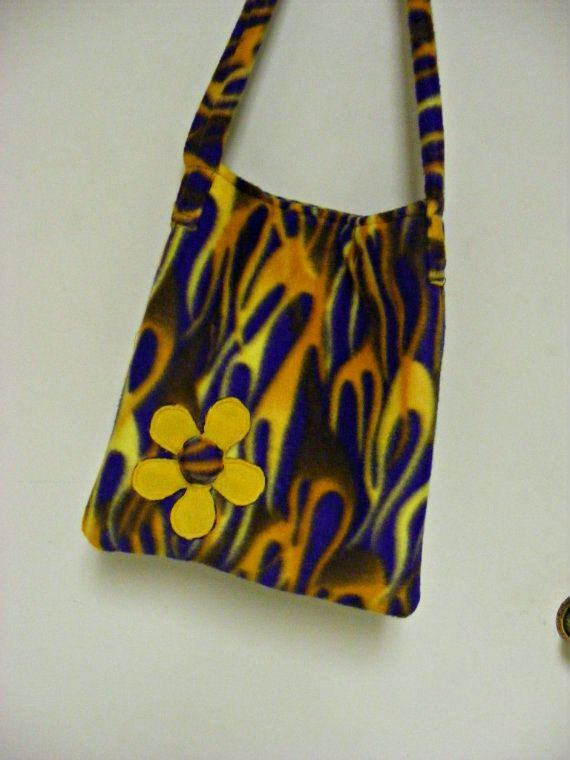 Purple Fleece Bag with Flames and Flower Purse by MultiPolarity