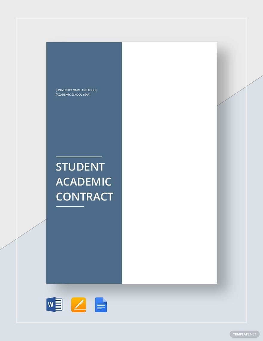 Student Academic Contract Template Word Doc Google Docs Apple Mac Pages Contract Template Student Academics