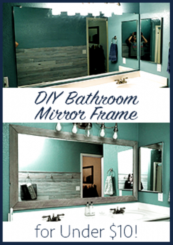 Diy Bathroom Mirror Frame Cheap Easy Do It Yourself Mirror Makeover Blue Wood Stain White W In 2020 Bathroom Mirror Frame Bathroom Mirrors Diy Bathroom Mirror Makeover