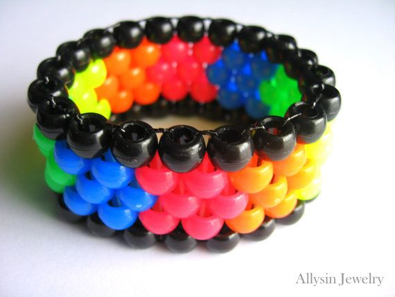 Kandi Pony Beads And Rave: Rainbow Kandi Cuff, Mini Neon Stretch Bracelet, Plur Rave