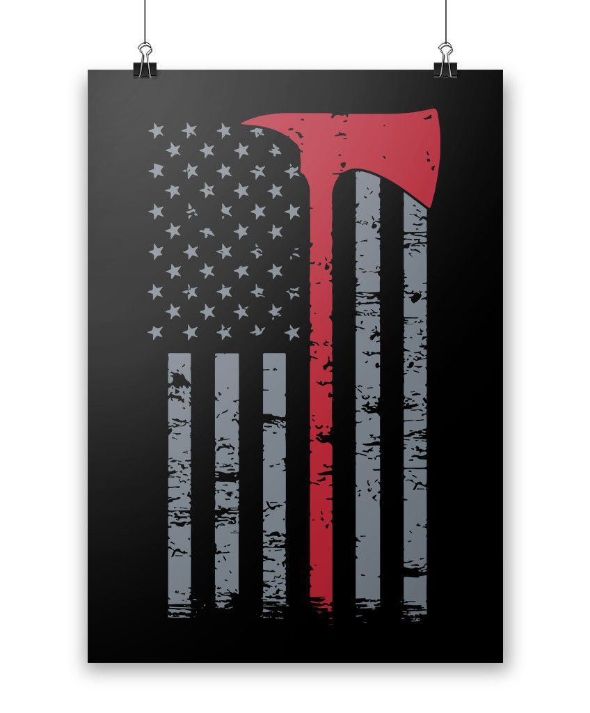 Firefigher thin red line poster firefighter
