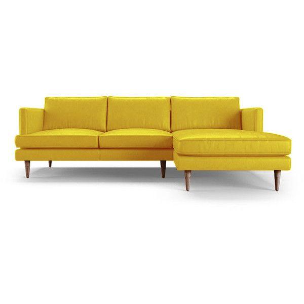 Joybird Preston Mid Century Modern Yellow Leather Sectional