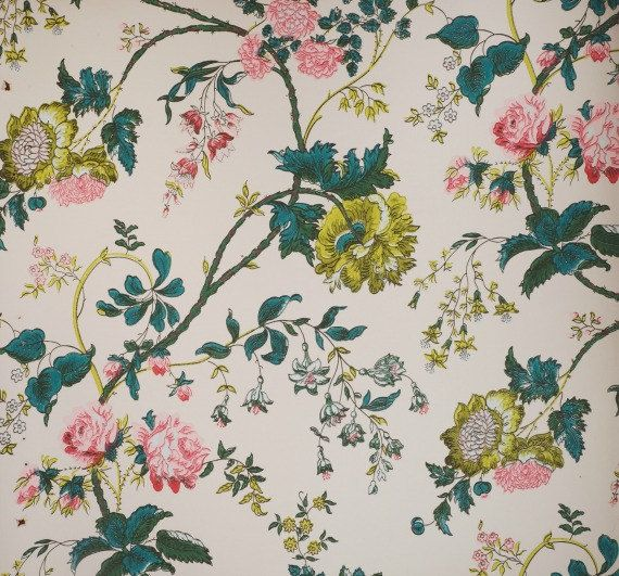 1950s Schumacher Wallpaper Peonies And Roses Ivory Etsy Wallpaper Schumacher Wallpaper Pattern Wallpaper