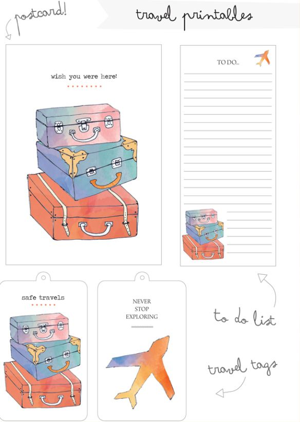 free printable travel tags and cards memory keeping pinterest kofferanh nger ausdrucken. Black Bedroom Furniture Sets. Home Design Ideas