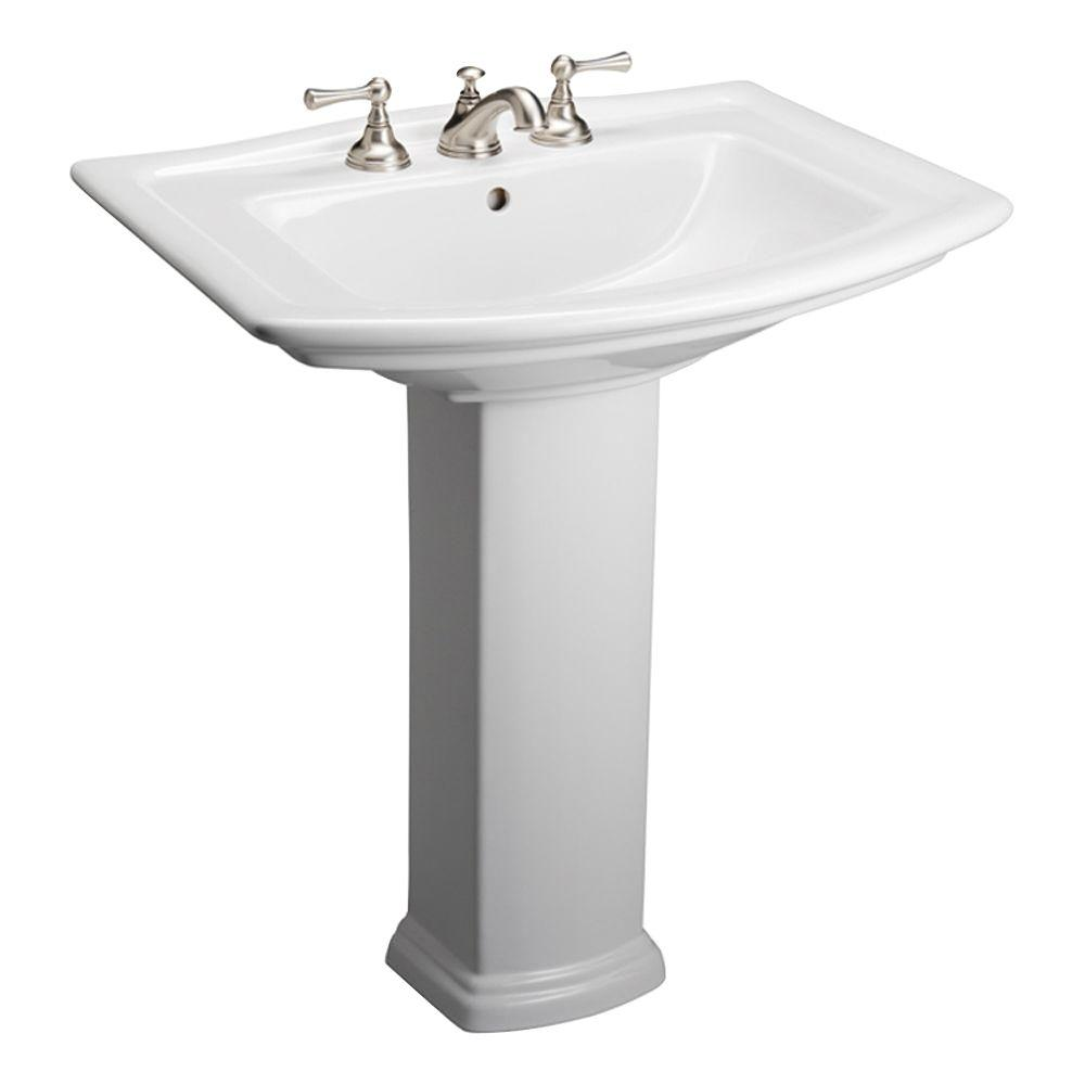S O Barclay Products Washington 650 25 In Pedestal Combo Bathroom Sink In White Pedestal Sink Sink Pedestal Basin