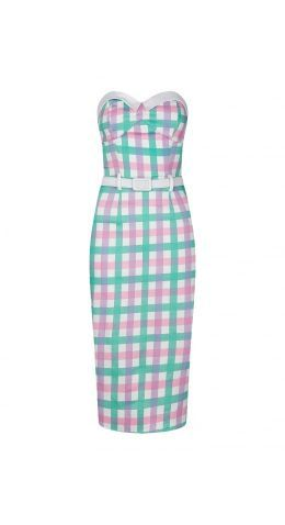 Collectif Monica Candy Gingham Pencil Dress