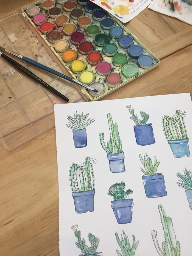 Good Summer - coloring book - painting cactus with watercolors ...