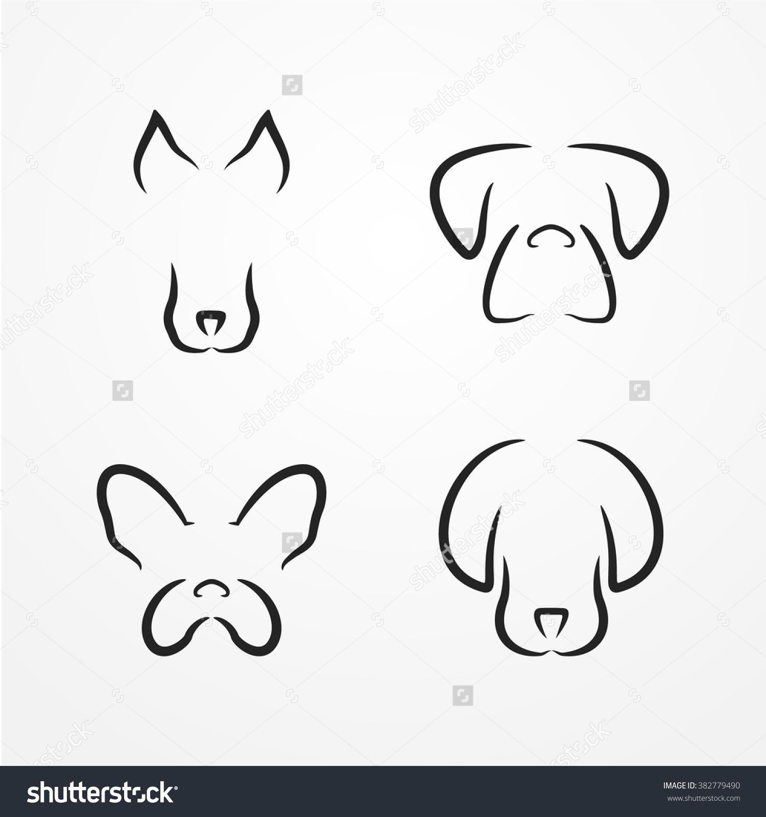 Abstract Dog Logotype Collection Cute Dog Heads In Silhouette