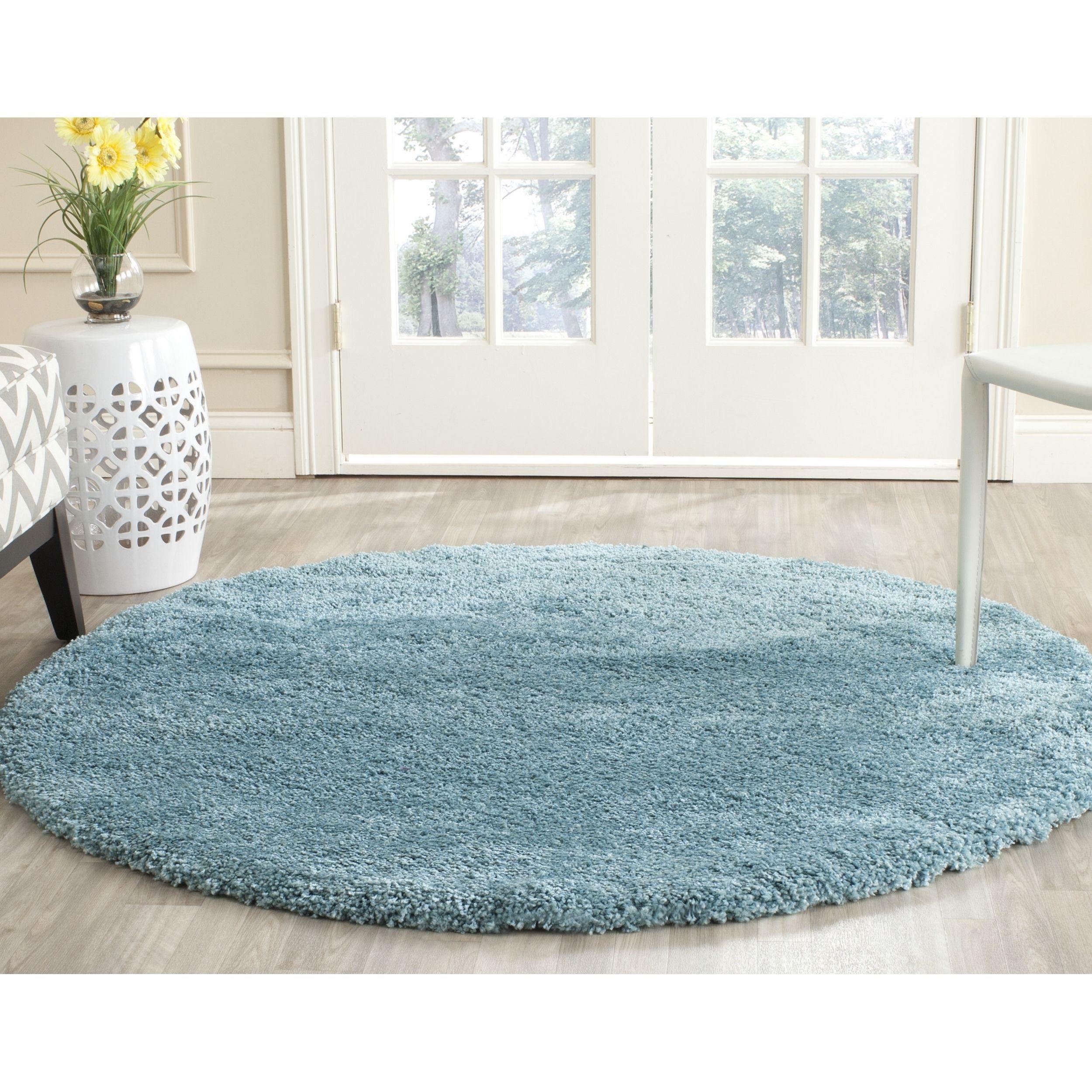 Safavieh Milan Shag Aqua Blue Rug (10' Round) (SG180-6060-10R), Size 10' (Polypropylene, Solid)