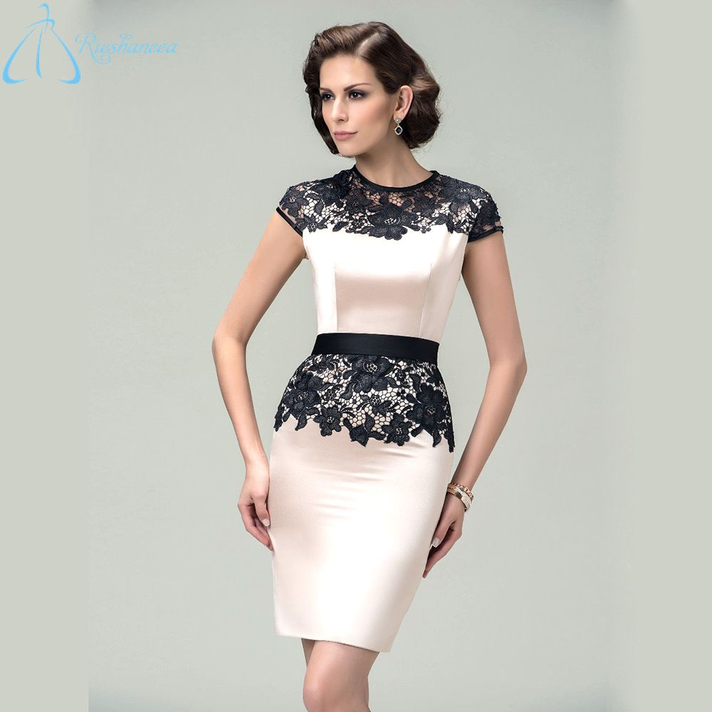 Click to buy ucuc cheap hot sale short sleeve elegant sheath knee