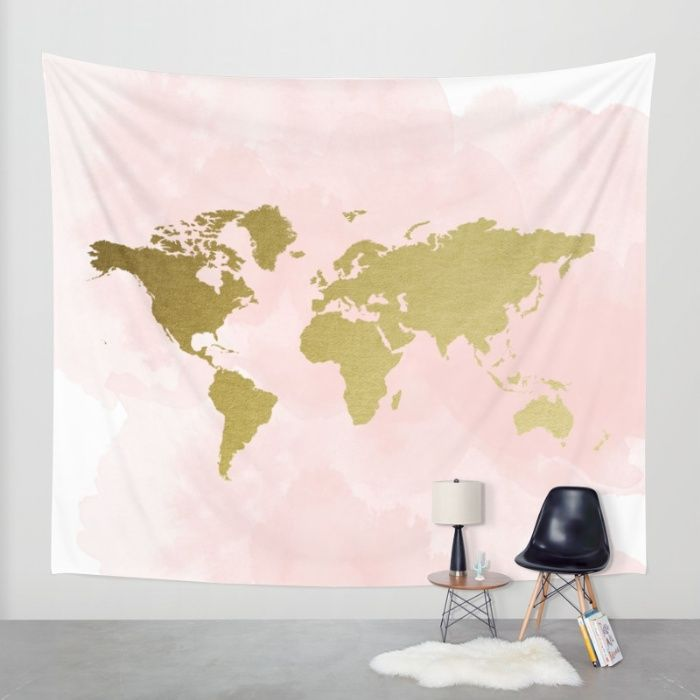 Buy Gold World Map Poster Wall Tapestry By PeachAndGold Worldwide - High quality world map poster