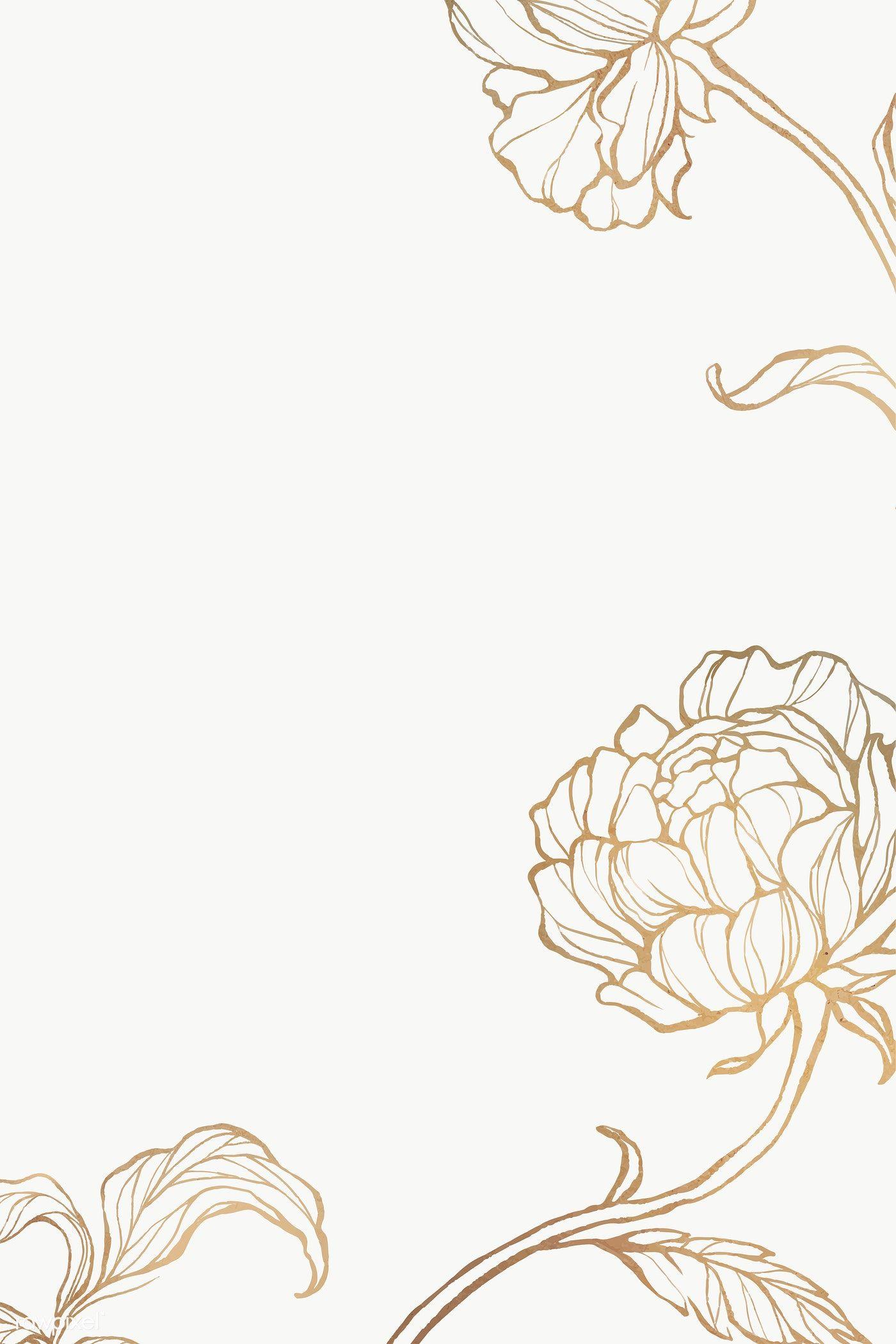 Gold Floral Outline Background Premium Image By Rawpixel Com Nunny Flower Background Wallpaper Marble Background Floral Border Design