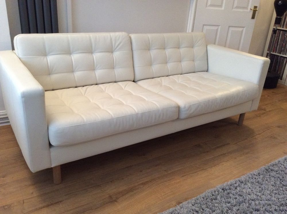 Ikea landskrona 3 seat white leather sofa white leather for Ikea sofa set