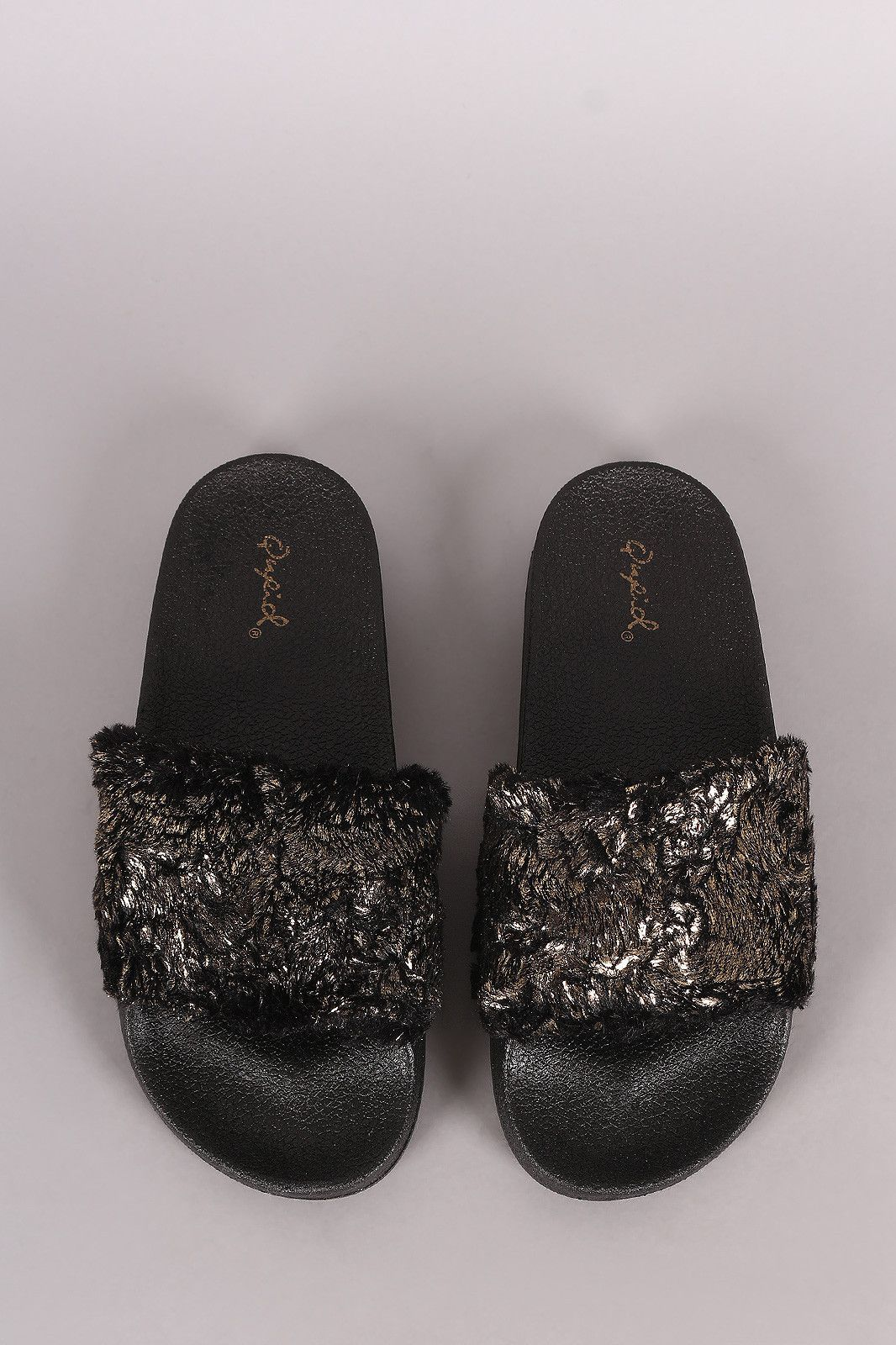 9d7336424e0 Qupid Metallic Faux Fur Slide Sandal. These slide sandals feature a wide  band across vamp with metallic accent faux fur trim finish and molded  foodbed.