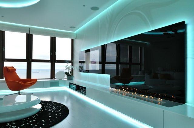 indirekte Beleuchtung Wohnzimmer blaue LED Lichterketten Living