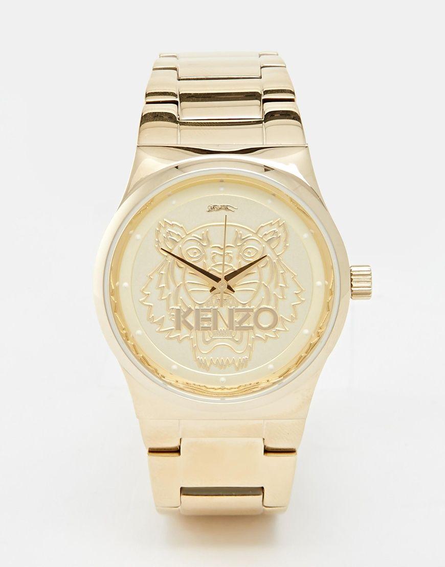 Reloj pequeño dorado con cabeza de tigre de Kenzo