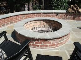 Brick Fire Pit And Seating Bench Walls With Bluestone Caps And Mortar Set Ashlar Pattern Bluestone Patio Applica Brick Fire Pit Backyard Fire Fire Pit Backyard
