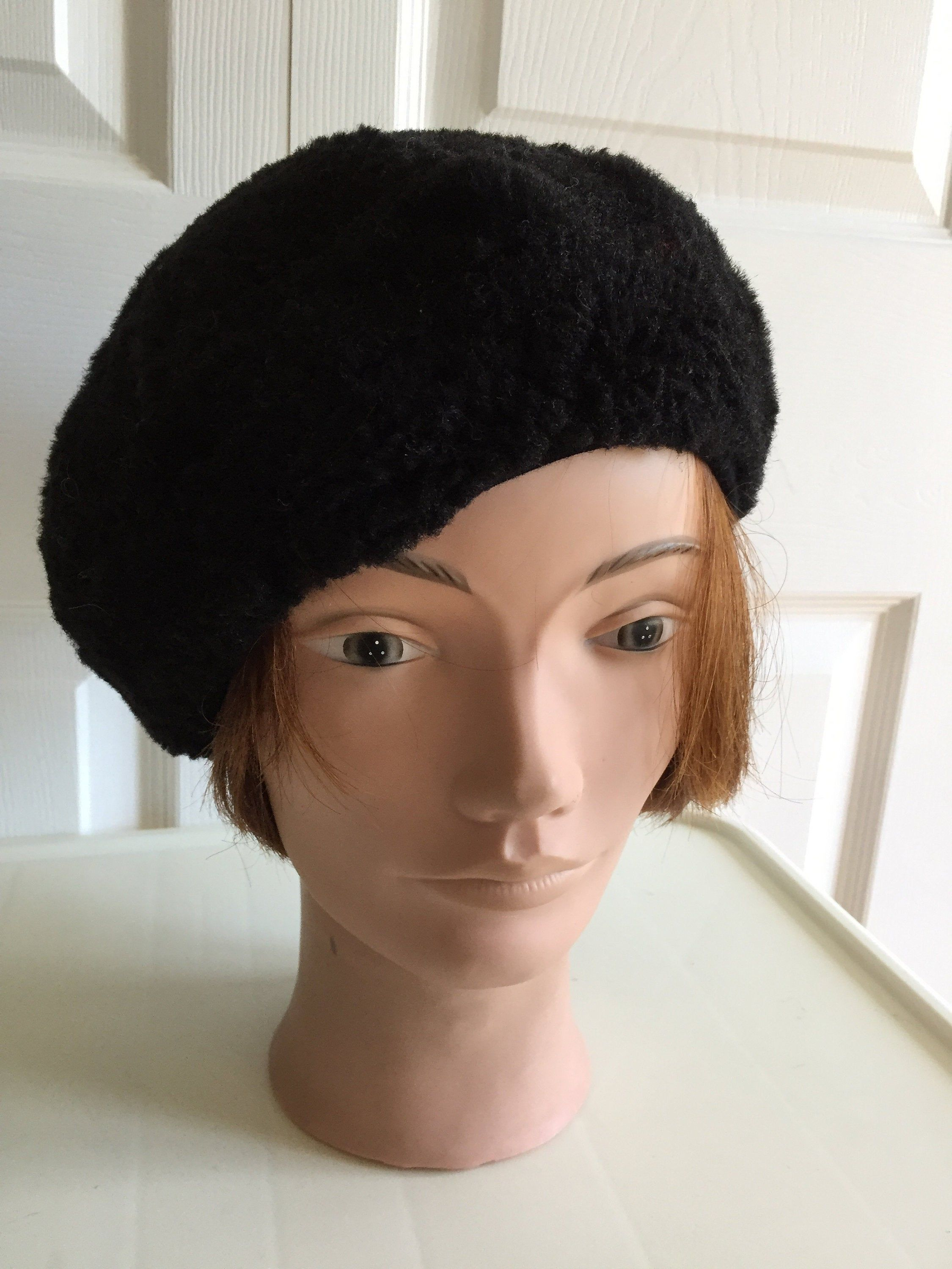 80s Black Acrylic Blend Beret Women Hat 10 Small Beatnik Look Vintage Hats For Women Black Acrylics Women