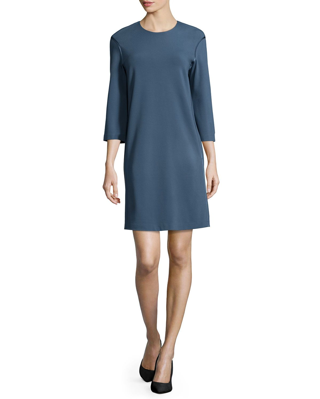 3/4-Sleeve Jewel-Neck Shift Dress, Women's