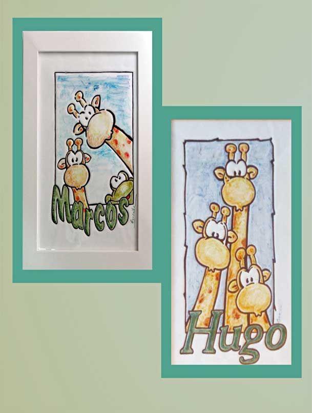 Cuadro infantil de cer mica con ilustraci n de jirafas infantil y nombre de ni o decoraci n - Cuadros habitacion nino ...