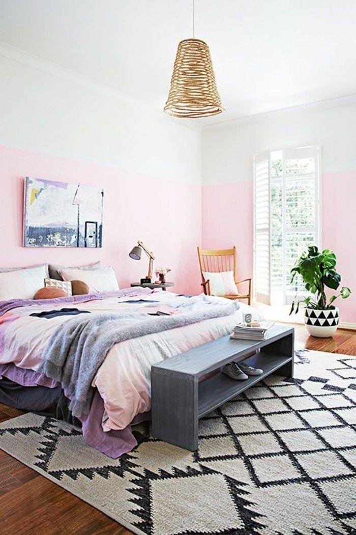 Schlafzimmer Deko Ideen Hellrosa Wände Pflanze Holzboden