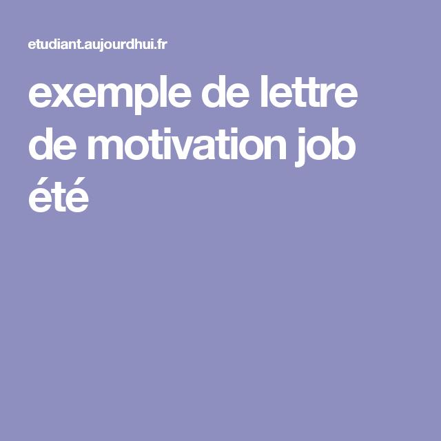 Exemple De Lettre De Motivation Job été Lettre Motivation