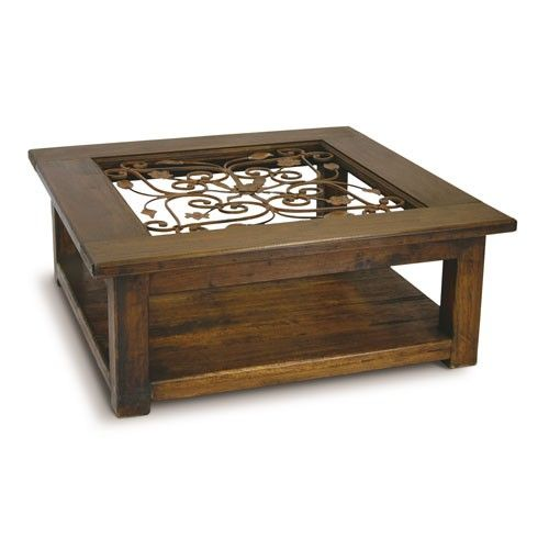 Recycled Timber Square Coffee Table With Wrought Iron And Glass