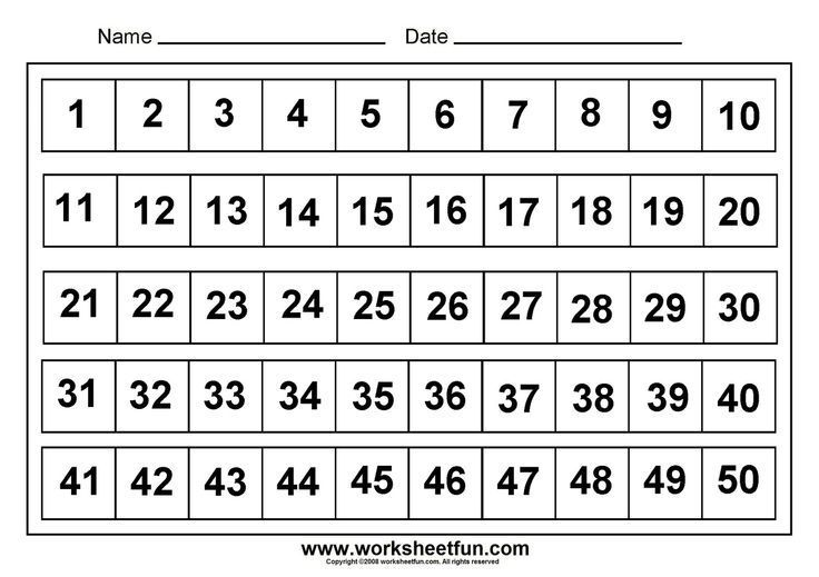 Image Result For Free Printables Number Grid From Numbers 1 50 Menulis Number chart worksheets half inch