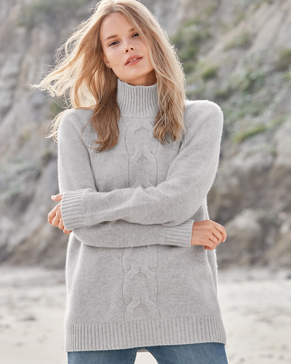Cable Detail Cashmere Tunic Sweater in 2020 | Cashmere