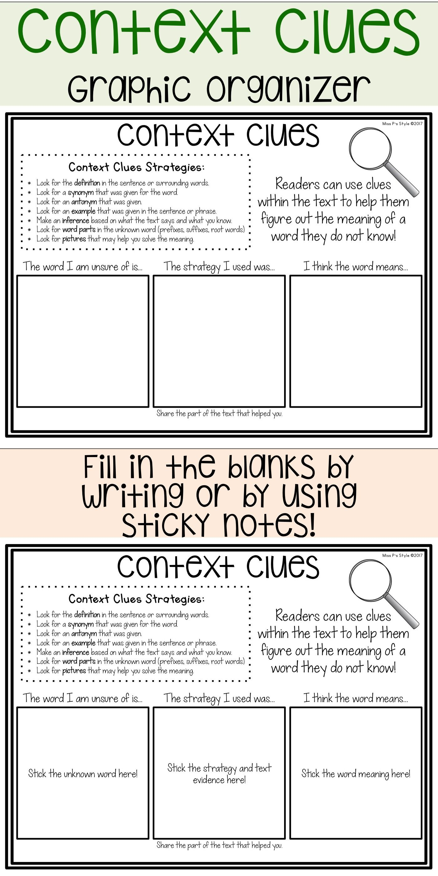 hight resolution of Reading Graphic Organizers   Context clues lesson