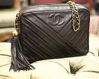 c59f402f8f Vintage Chanel noir matelassé cuir frange pompon sac | Sac chaîne ...