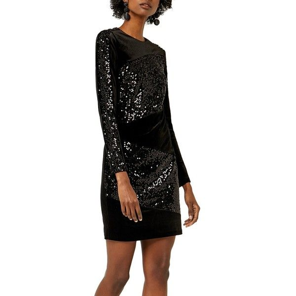 c61bcfd1e83231 Warehouse Velvet Sequin Panel Dress ( 64) ❤ liked on Polyvore featuring  dresses