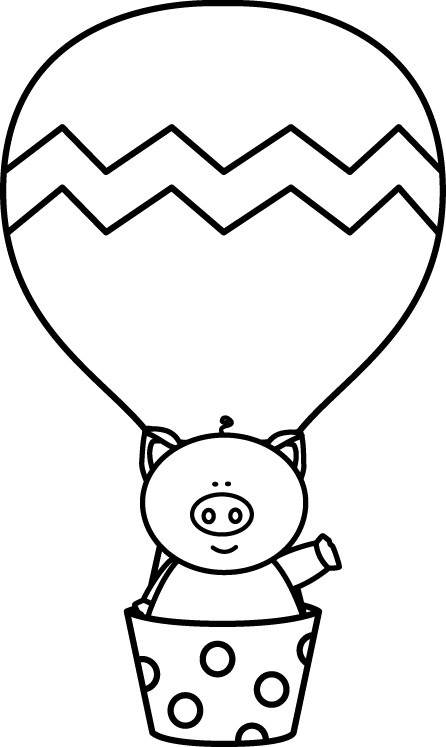 black and white pig in a hot air balloon clip art from rh pinterest com Minion Clip Art Black and White Simple Black and White Clip Art Hot Air Balloon