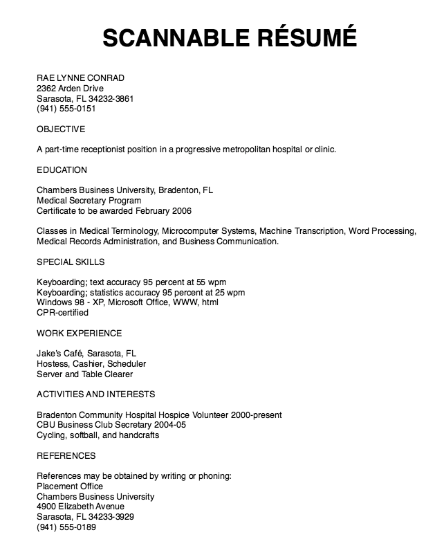 Scannable Resume Samples Examples Resume Cv Resume Medical Transcription Sample Resume