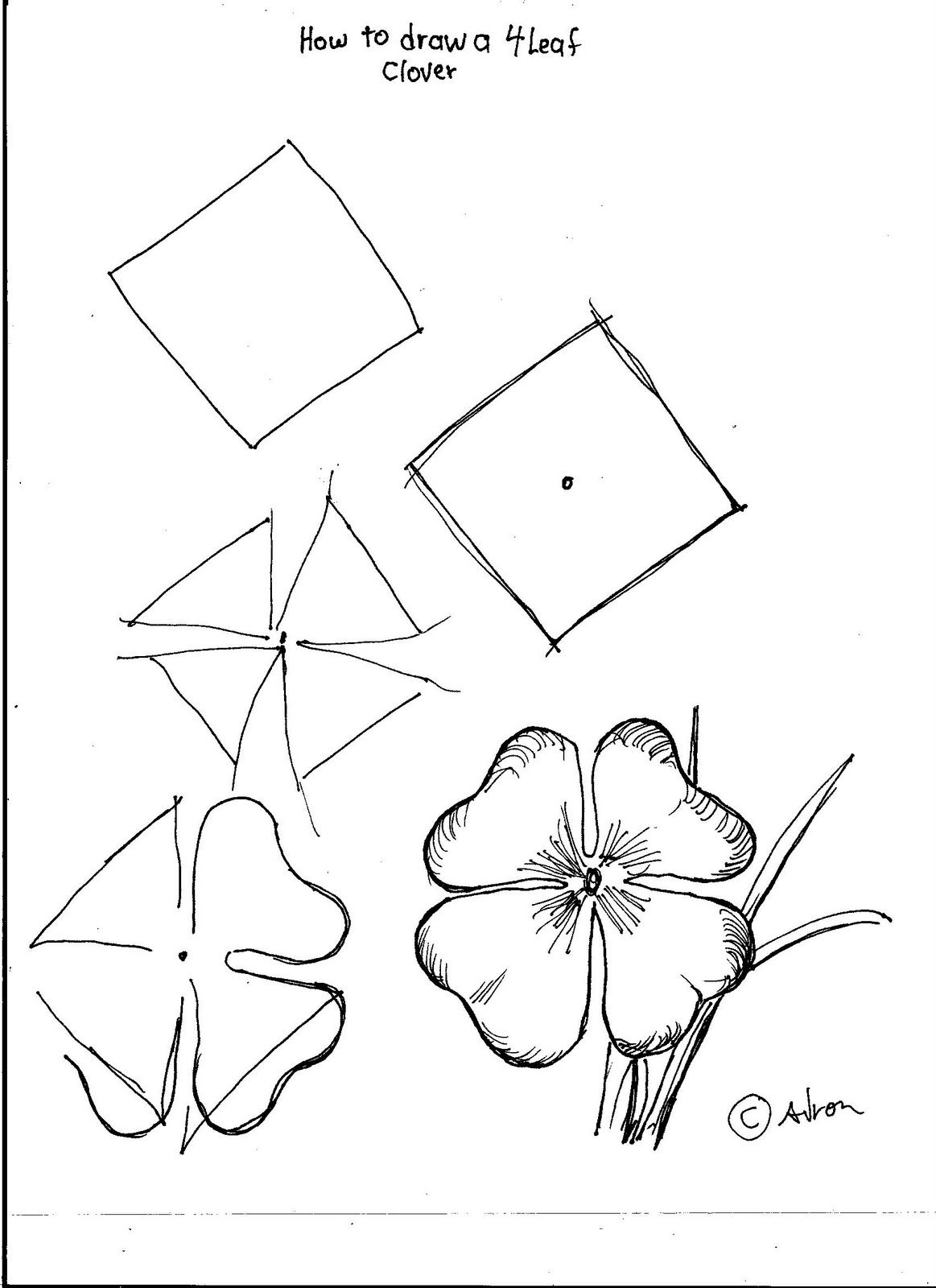 How To Draw Worksheets For The Young Artist How To Draw A Four Leaf Clover For A Young Artist